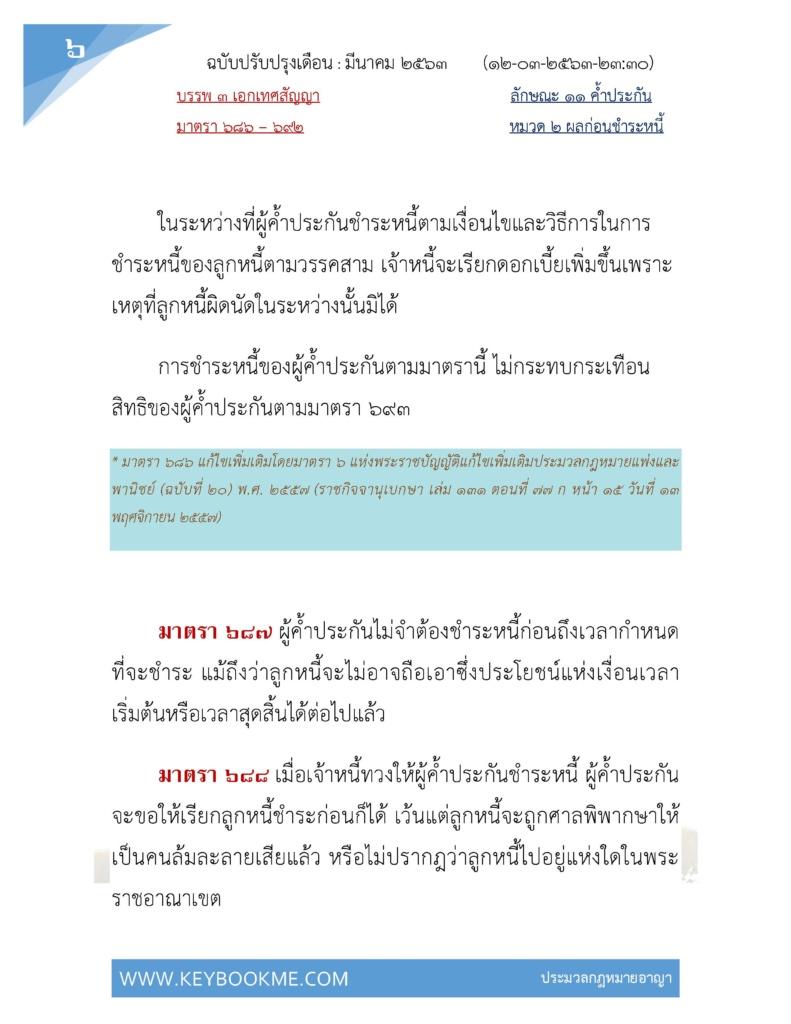 ประมวลกฎหมายแพ่งและพานิชย์-บรรพ3-เอกเทศสัญญา-ลักษณะ11-ค้ำประกัน